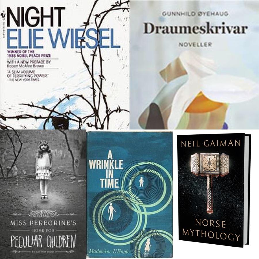 Bøkene som kommer er: Night - Elie Wiesel, Draumeskrivar - Gunnhild Øyehaug, Miss Pedegrice Home for Peculiar Children – Ransome Riggs, A wrinkle in time – Madeline L´Engle, Norse Mythology - Neil Gaiman